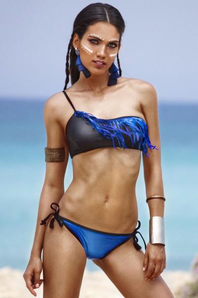 Bikini da donna a fascia monospalla bicolore con frange Sweet Years.