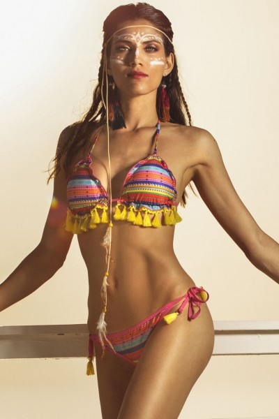 Bikini a triangolo da donna con nappine e stampa multicolor allover Sweet Years.