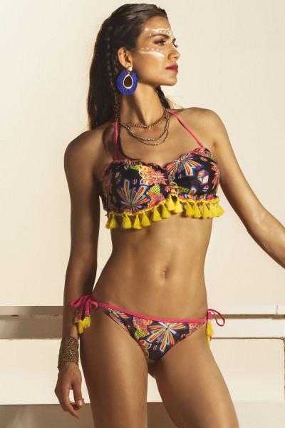 Bikini a fascia con fantasia multicolor floreale e con nappine in contrasto Sweet Years.