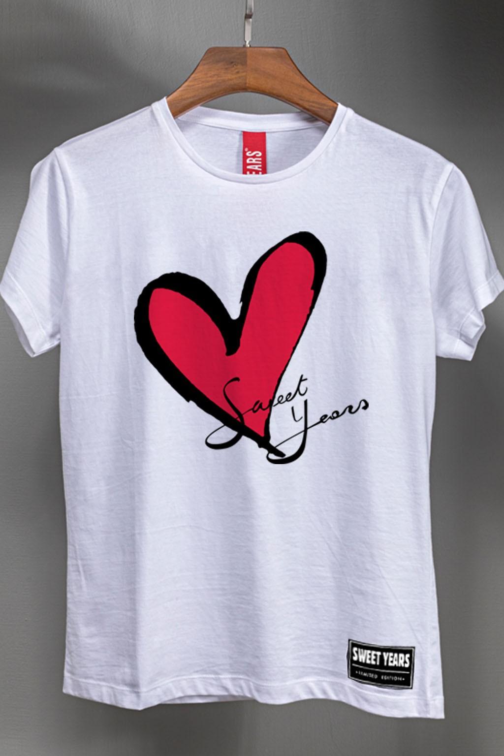 the best attitude 208a8 82606 T-shirt donna bianca celebrativa Sweet Years con stampa del cuore Taglia L  Colore Bianco