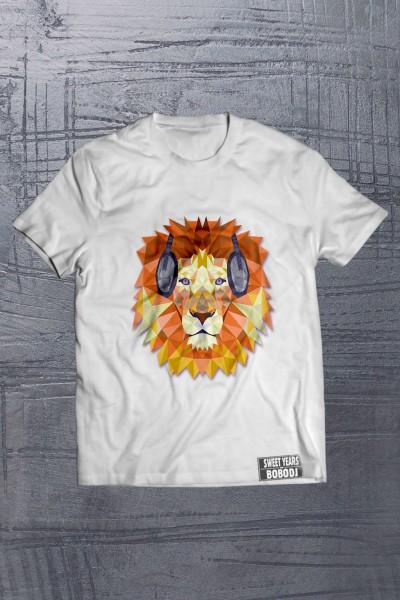T-shirt da uomo nera con leone multicolor Sweet Years Bobo Collection