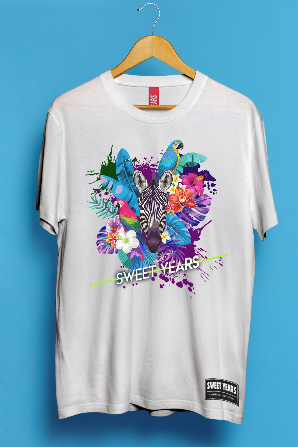 sports shoes 7a4be 7cdab T-shirt uomo in cotone Sweet Years con stampa multicolor Zebra Flowers  Taglia S Colore Bianco