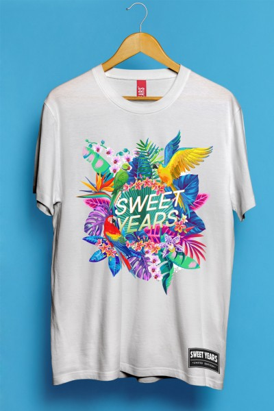 T-shirt in cotone a maniche corte da uomo Sweet Years in tinta unita con grande stampa in stile tropical.