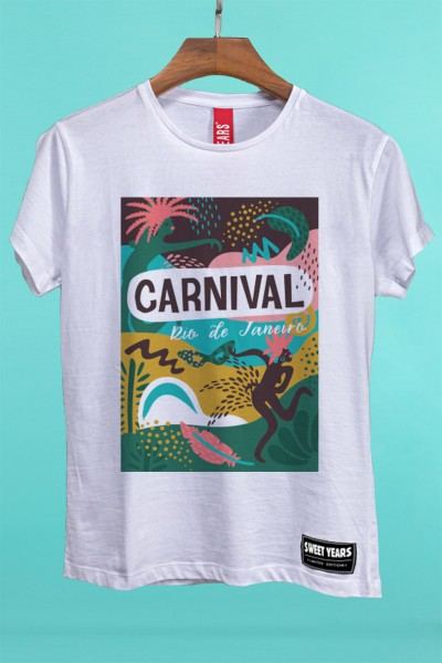T-shirt in cotone a maniche corte da donna Sweet Years in tinta unita con grande stampa in stile tropical.