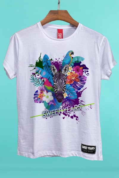 T-shirt in cotone a maniche corte da donna Sweet Years in tinta unita con grande stampa in stile tropical.