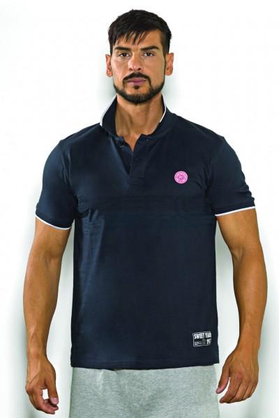 Polo a manica corta in jersey di cotone tinta unita con due bottoni e piccola patch in contrasto Sweet Years.
