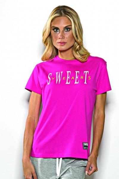 T-shirt girocollo Sweet Years in cotone tinta unita con stampa del marchio centrale.