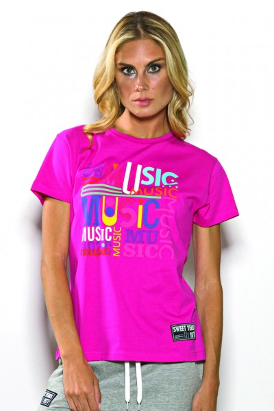 T-shirt girocollo Sweet Years in cotone tinta unita con stampa multicolor centrale.