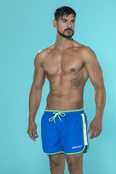 Boxer da mare Givova tinta unita con coulisse in vita e bande laterali in contrasto.