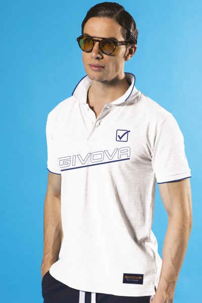 Polo in piquet di cotone Givova con stampa del marchio e bordini in contrasto.