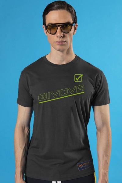 T-shirt in cotone girocollo tinta unita Givova con dettagli colorati in contrasto.