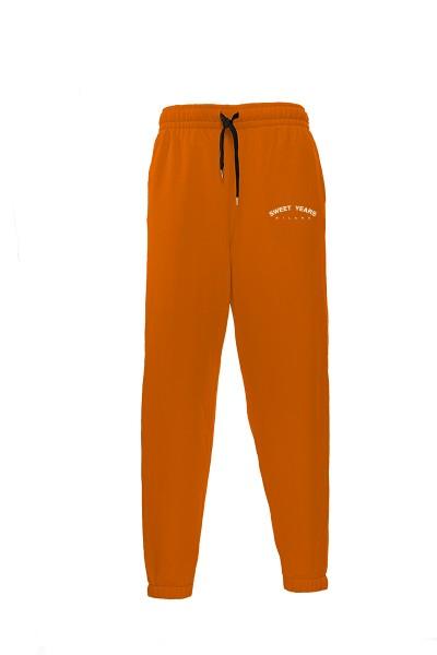 Pantaloni in felpa di cotone arancione con interno garzato Sweet Years Milano.