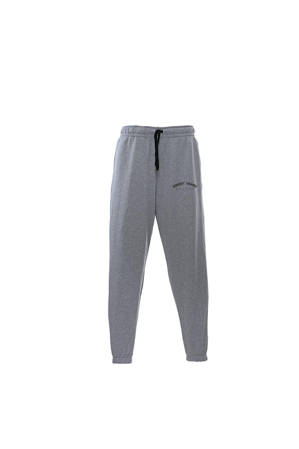 Pantaloni in felpa di cotone grigio melange con interno garzato Sweet Years Milano.