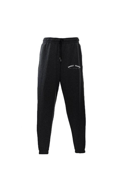 Pantaloni in felpa di cotone nero con interno garzato Sweet Years Milano.