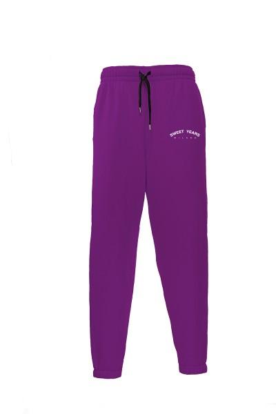 Pantaloni in felpa di cotone viola con interno garzato Sweet Years Milano.