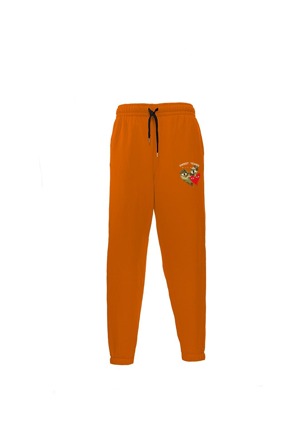 Pantaloni in felpa di cotone arancione con interno garzato Sweet Years Milano con stampa cuori.