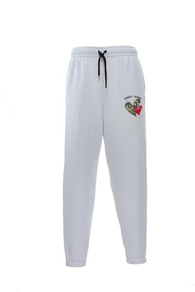 Pantaloni in felpa di cotone bianco con interno garzato Sweet Years Milano con stampa cuori.