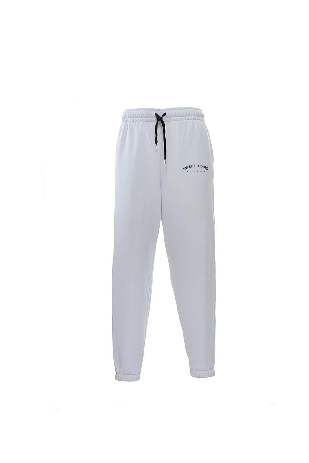 Pantaloni in felpa di cotone bianco con interno garzato Sweet Years Milano con piccola stampa.