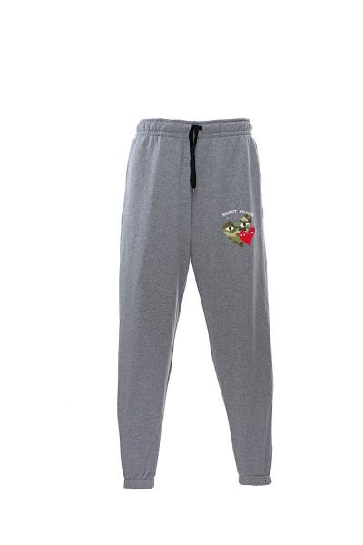 Pantaloni in felpa di cotone grigio melange con interno garzato Sweet Years Milano con stampa cuori.