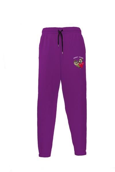 Pantaloni in felpa di cotone viola con interno garzato Sweet Years Milano con stampa cuori.