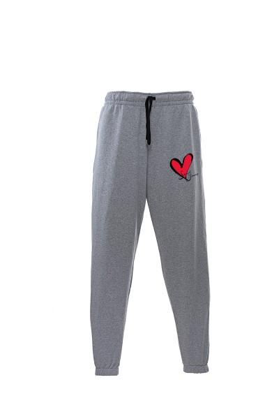 Pantaloni in felpa di cotone grigio melange con interno garzato Sweet Years Milano con stampa cuore classico.