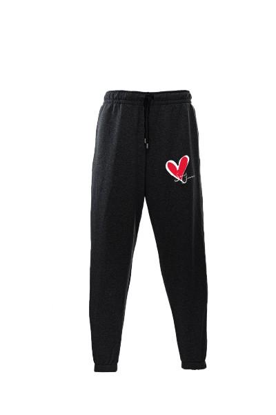 Pantaloni in felpa di cotone nero con interno garzato Sweet Years Milano con stampa cuore classico.