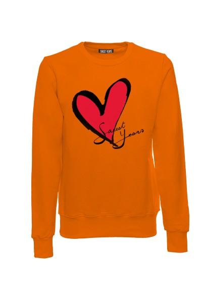 Felpa girocollo arancione in cotone con logo del cuore Sweet Years.