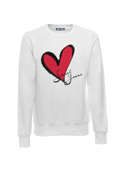 Felpa girocollo bianca in cotone con logo del cuore Sweet Years.