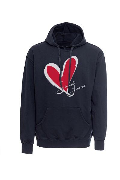 Felpa con cappuccio nera in cotone con logo del cuore Sweet Years.