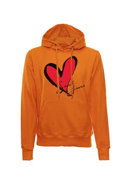 Felpa con cappuccio arancione in cotone con logo del cuore Sweet Years.