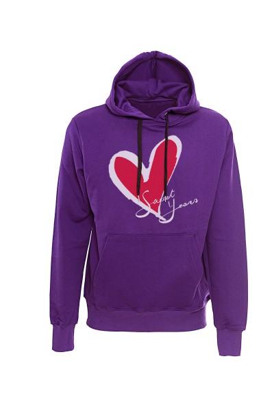 Felpa con cappuccio viola in cotone con logo del cuore Sweet Years.