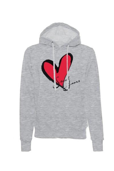 Felpa con cappuccio grigio melange in cotone con logo del cuore Sweet Years.