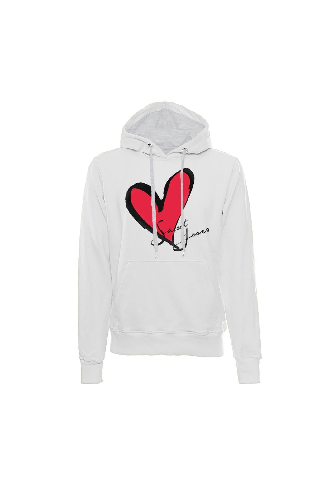 Felpa con cappuccio bianca in cotone con logo del cuore Sweet Years.