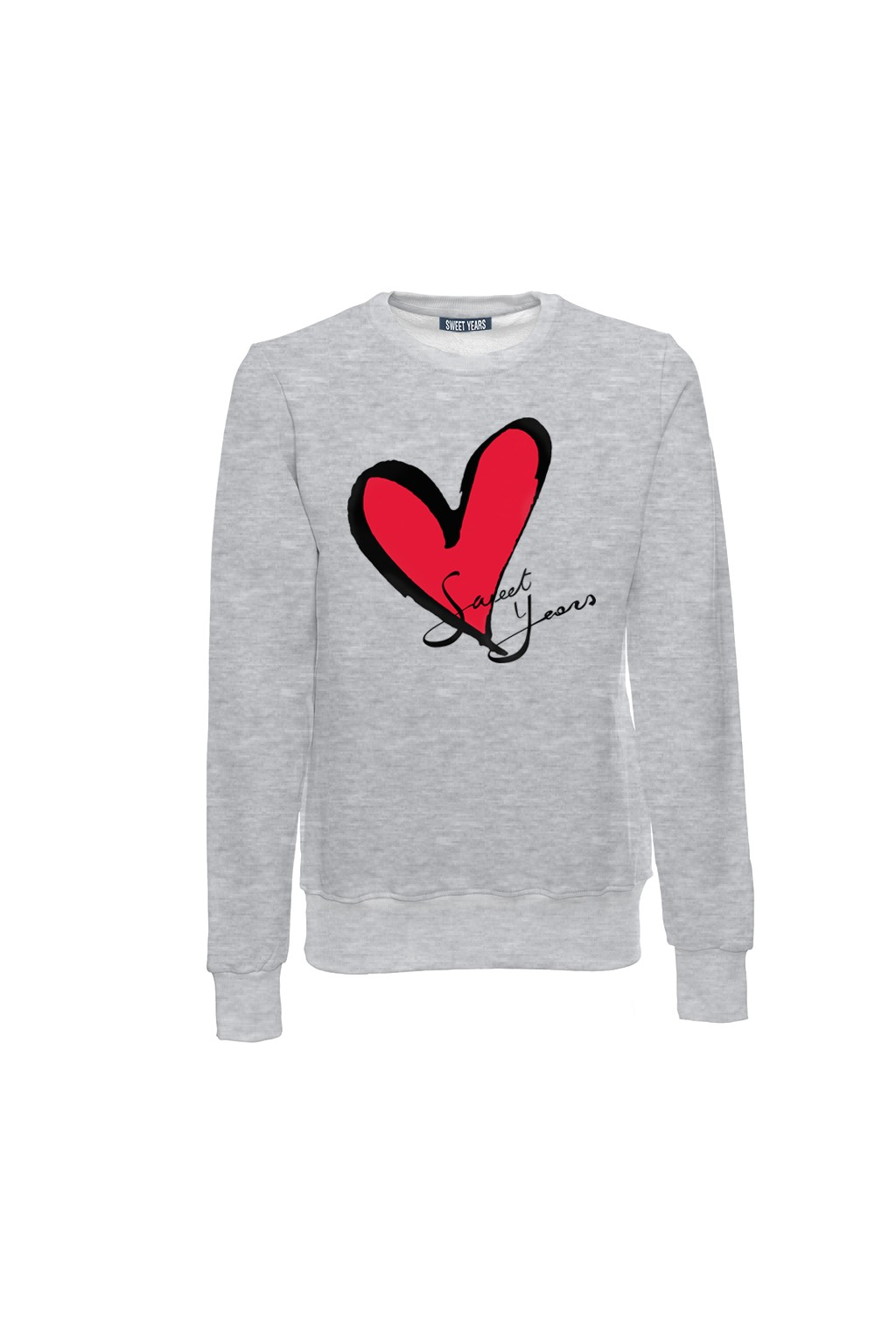 Felpa girocollo grigio melange in cotone con logo del cuore Sweet Years.