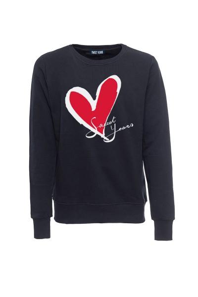 Felpa girocollo nera in cotone con logo del cuore Sweet Years.