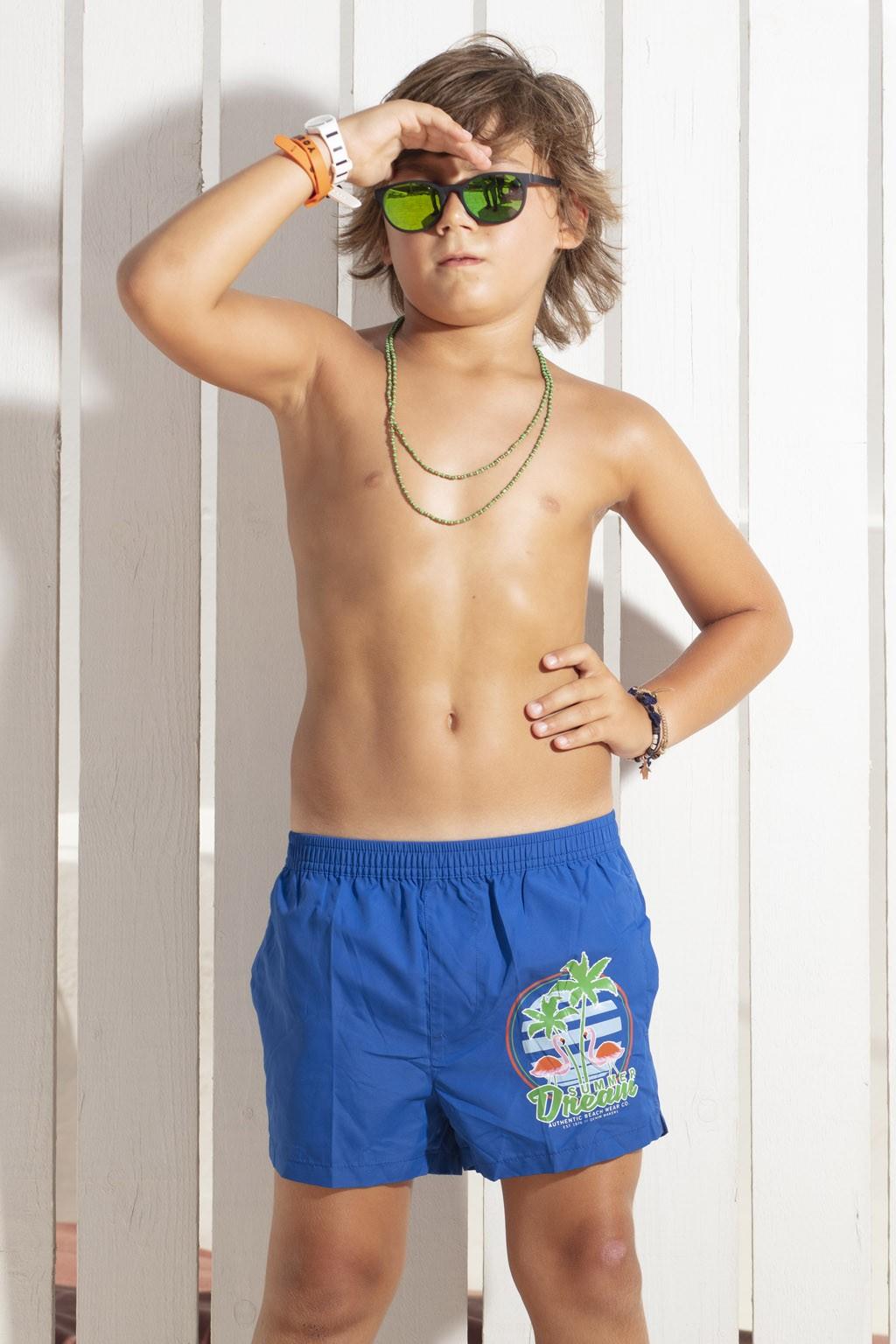 Acquista subito i boxer da mare tinta unita da bambino di Sweet Years, con stampa multicolor sulla gamba.