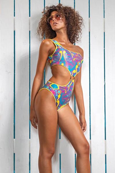 Acquista ora il costume intero da donna in fantasia multicolor e con fascia monospalla di Sweet Years.