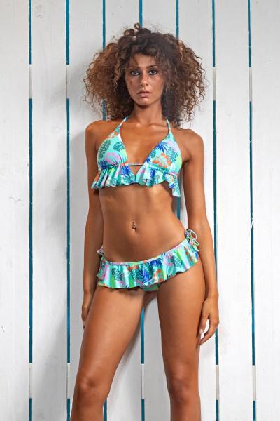 Acquista il bikini con reggiseno a triangolo Sweet Years in fantasia multicolor con rouges della collezione estate 2021.