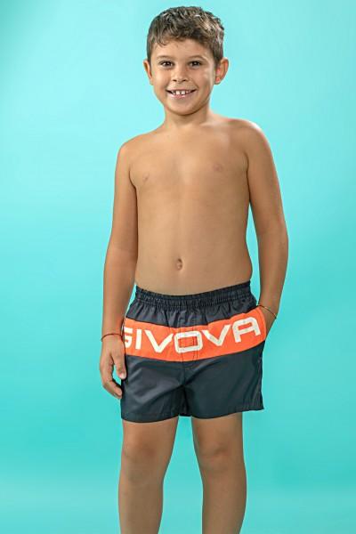 Boxer mare bambino Givova con fascia orizzontale e stampa marchio