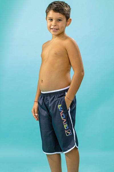 Boxer surf mare bambino Givova tinta unita con marchio multicolor.