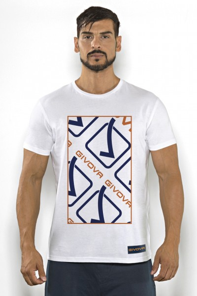 Acquista subito questa t-shirt Givova in cotone tinta unita con stampa multicolor del marchio.