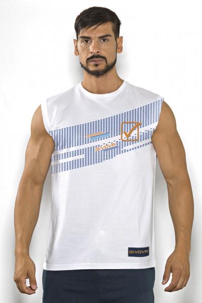 Acquista subito questa t-shirt smanicata Givova in cotone tinta unita con stampa multicolor del marchio.