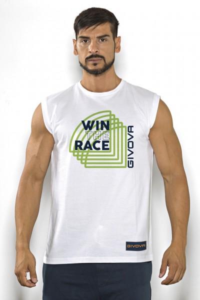Acquista subito questa t-shirt smanicata Givova in cotone tinta unita con stampa scritta multicolor.