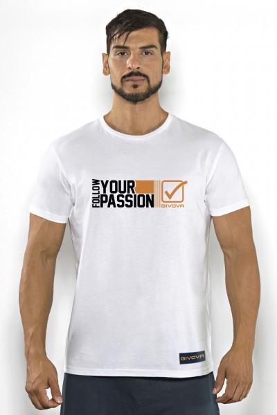 T-shirt uomo Givova cotone tinta unita con stampa scritta multicolor
