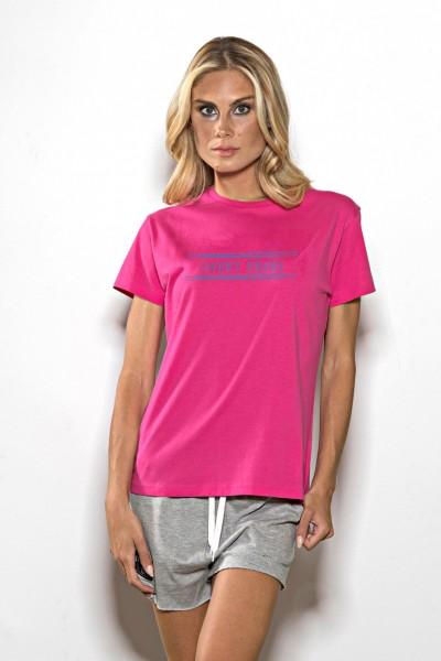 T-shirt donna in cotone tinta unita scritta stampata Sweet Years