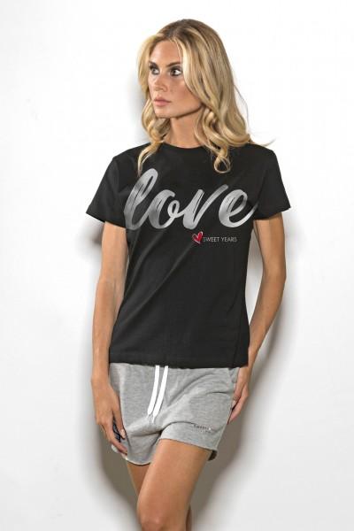 T-shirt donna in cotone tinta unita stampa scritta Love Sweet Years