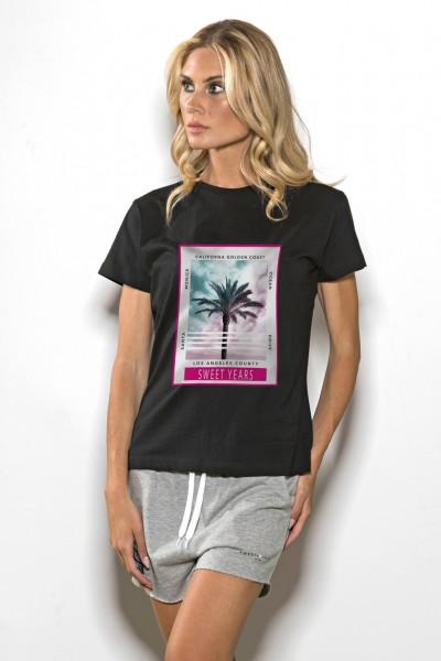 T-shirt donna in cotone tinta unita stampa di palme Sweet Years.
