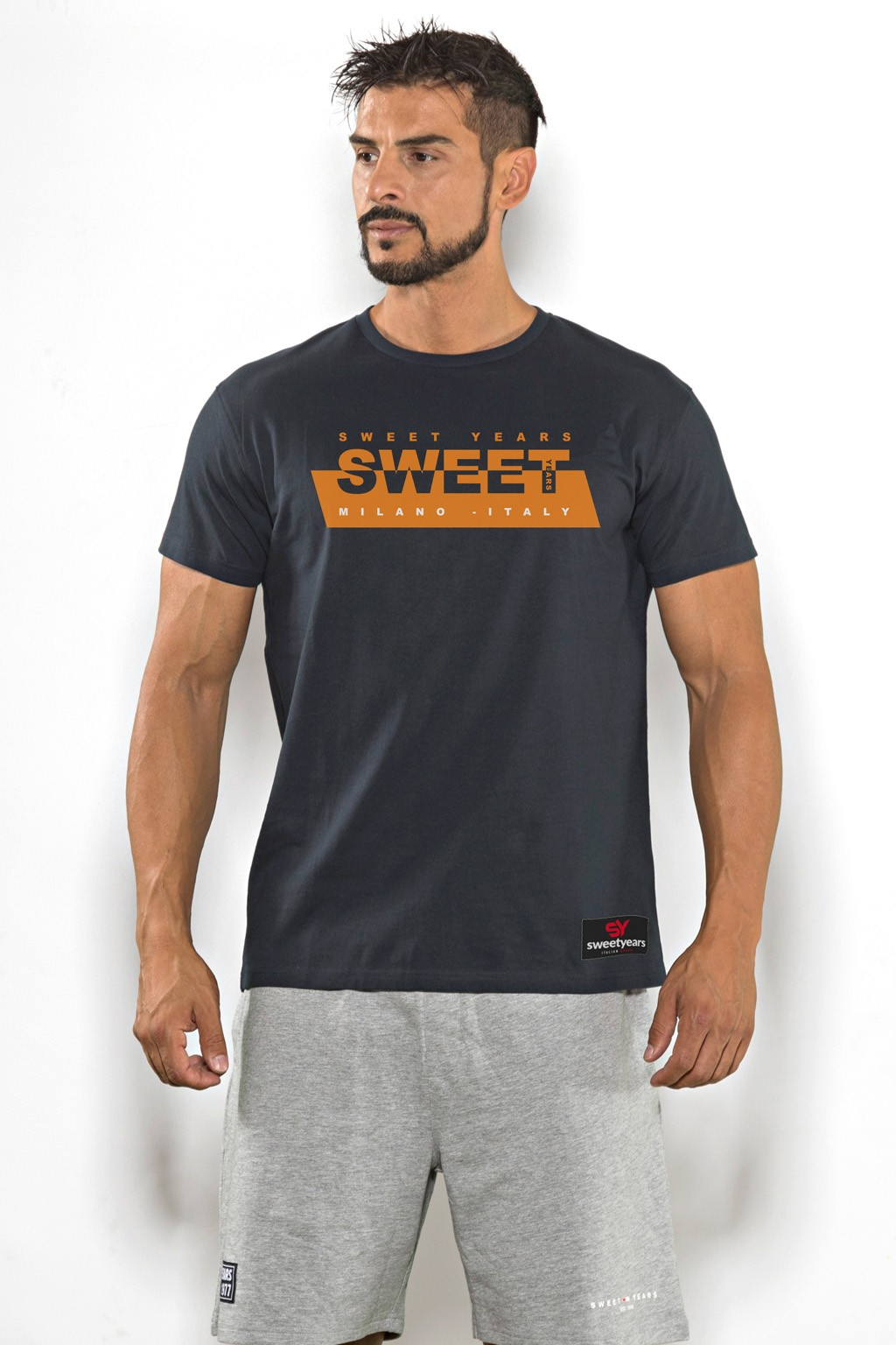 T-shirt uomo Sweet Years cotone tinta unita con stampa Sweet sul petto