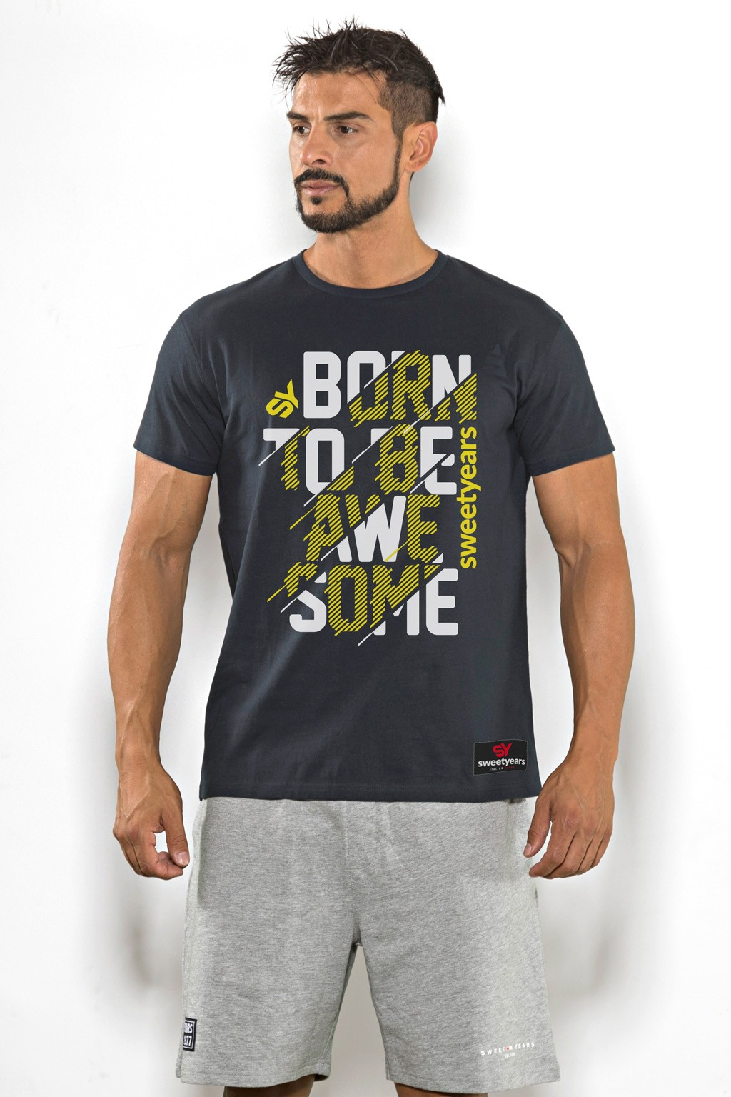 T-shirt uomo Sweet Years cotone tinta unita con stampa bicolore sul petto