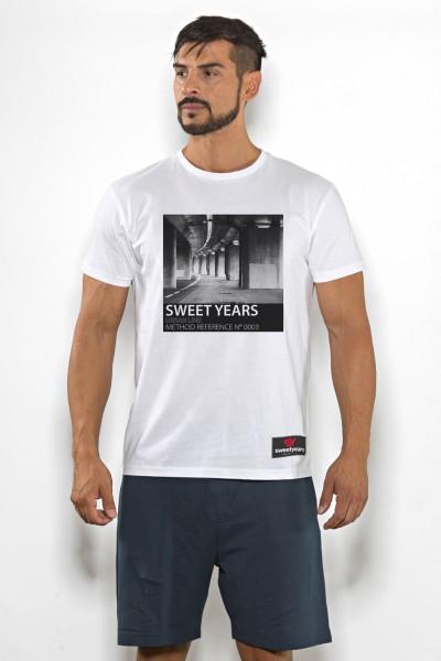 T-shirt uomo Sweet Years cotone tinta unita con stampa tunnel sul petto